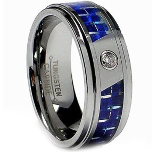 (Wholesale)Tungsten Carbide Ring With Carbon Fiber & CZ-2443