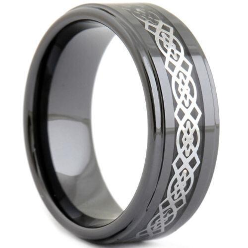 (Wholesale)Black Tungsten Carbide Celic Inlays Ring - TG2450