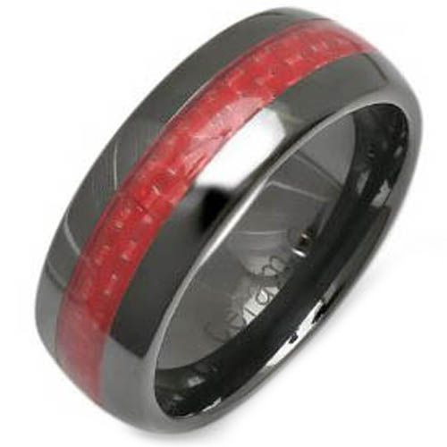 (Wholesale)Black Tungsten Carbide Carbon Fiber Ring-TG2589