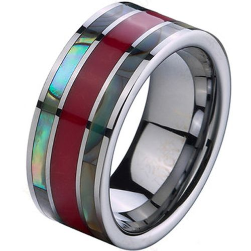 (Wholesale)Tungsten Carbide Ceramic Abalone Shell Ring - TG2762