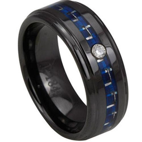 (Wholesale)Black Tungsten Carbide Carbon Fiber & CZ Ring-2791