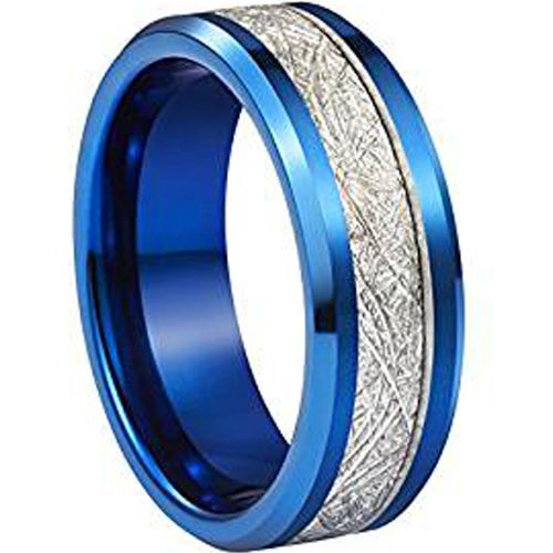 (Wholesale)Blue Tungsten Carbide Imitate Meteorite Ring - TG2807