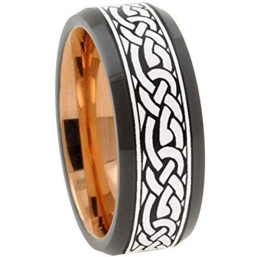 (Wholesale)Tungsten Carbide Black Rose Beveled Edges Ring-3156