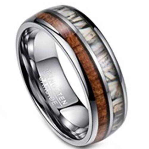 (Wholesale)Tungsten Carbide Deer Antler Camo Ring-3395