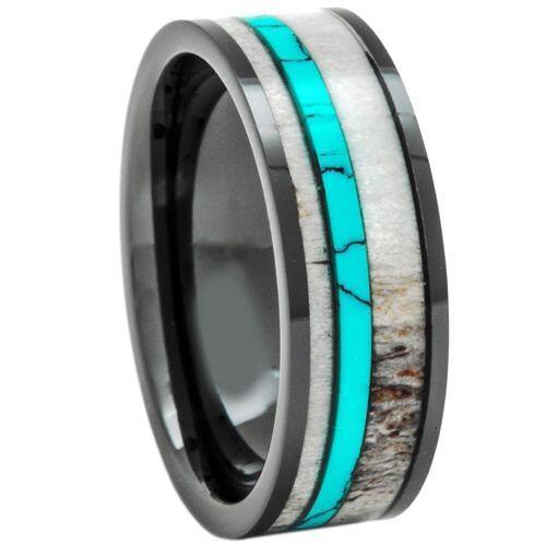 (Wholesale)Tungsten Carbide Deer Antler Imitate Turquoise Ring-3402
