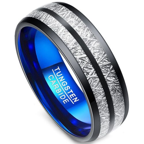 (Wholesale)Tungsten Carbide Black Blue Imitate Meteorite Ring-34