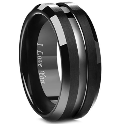 (Wholesale)Black Tungsten Carbide Center Groove Ring - TG3406BB