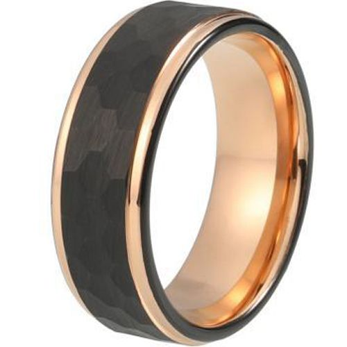 (Wholesale)Tungsten Carbide Black Rose Hammered Ring - TG344AA