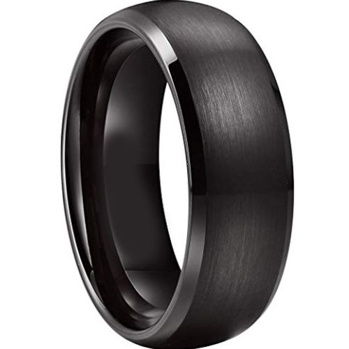 (Wholesale)Black Tungsten Carbide Beveled Edges Ring - TG3577