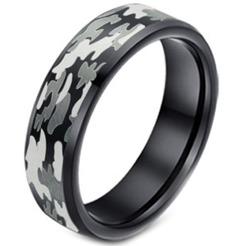 (Wholesale)Black Tungsten Carbide Camo Pattern Ring - TG3627A
