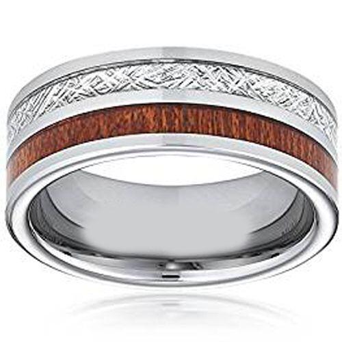 (Wholesale)Tungsten Carbide Imitate Meteorite Wood Ring-3780AA