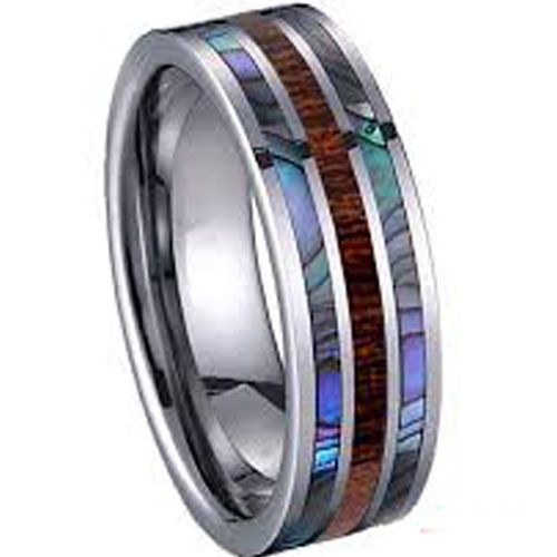 (Wholesale)Tungsten Carbide Wood Abalone Shell Ring - TG3881
