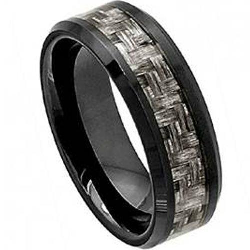 (Wholesale)Black Tungsten Carbide Carbon Fiber Ring-TG4002