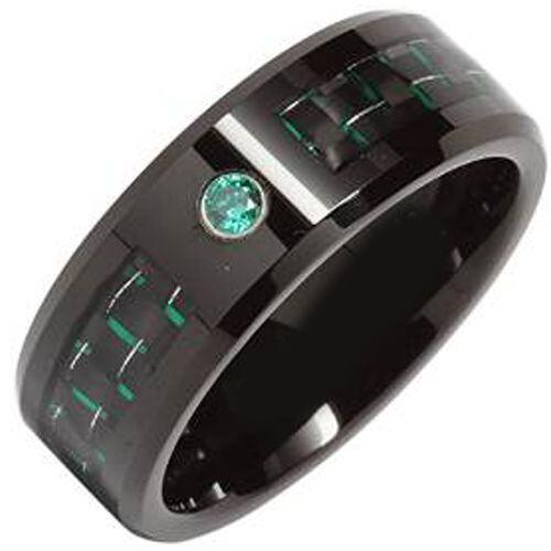 (Wholesale)Black Tungsten Carbide Carbon Fiber Ring-TG4020