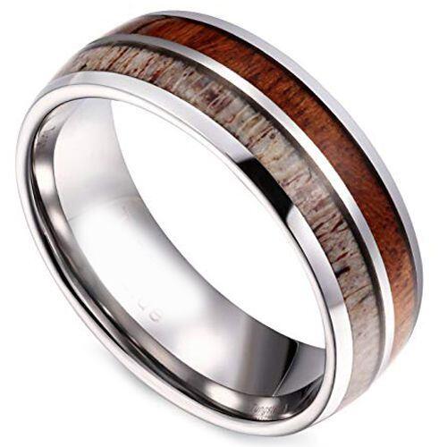 (Wholesale)Tungsten Carbide Deer Antler Wood Ring - TG4057