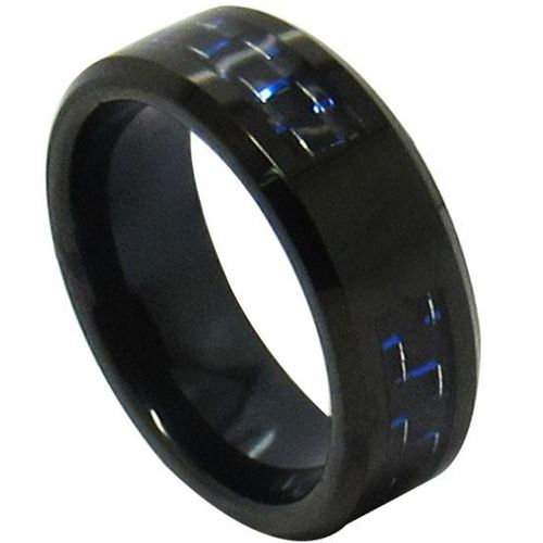 (Wholesale)Black Tungsten Carbide Ring With Carbon Fiber - TG431