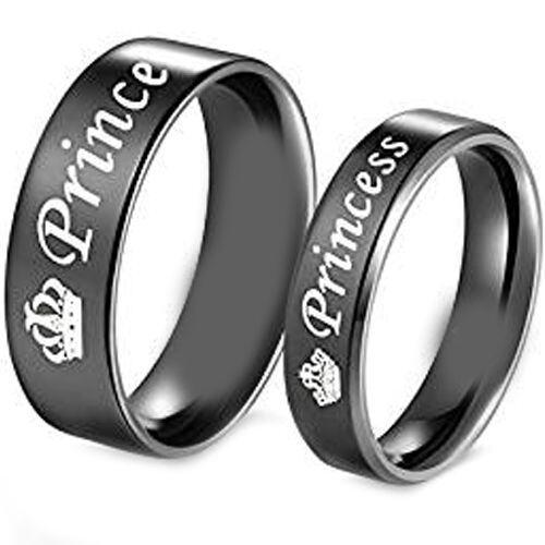 (Wholesale)Black Tungsten Carbide Prince Princess Ring-4331