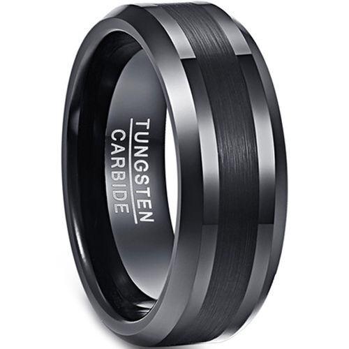 (Wholesale)Black Tungsten Carbide Beveled Edges Ring - TG4342