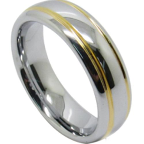 (Wholesale)Tungsten Carbide Dome Double Groove Ring - TG4493