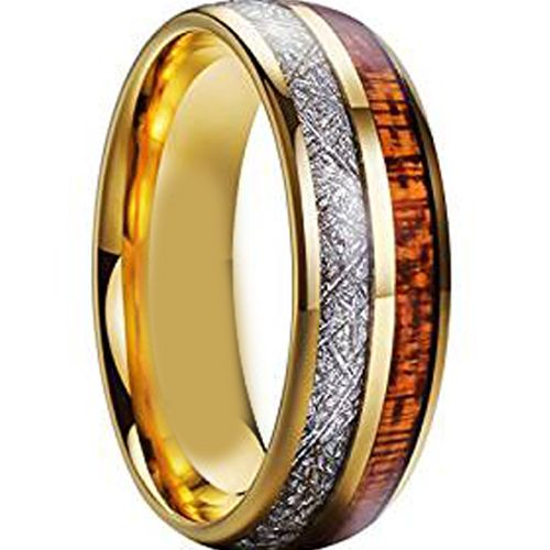 (Wholesale)Tungsten Carbide Wood & Imitate Meteorite Ring-793AA