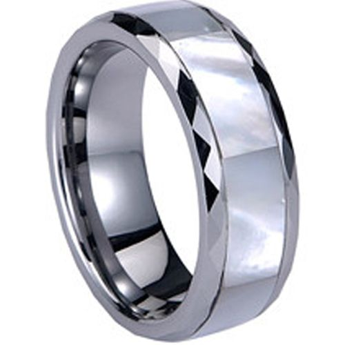 (Wholesale)Tungsten Carbide Faceted Abalone Shell Ring - TG824
