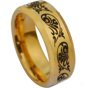 (Wholesale)Tungsten Carbide Beveled Edges Ring - TG1077A