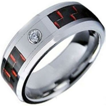 (Wholesale)Tungsten Carbide Ring With Carbon Fiber & CZ-TG3503