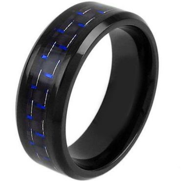 (Wholesale)Black Tungsten Carbide Carbon Fiber Ring-TG3791