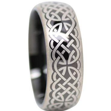 (Wholesale)Black Tungsten Carbide Celtic Dome Ring-1372