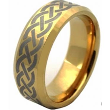 (Wholesale)Tungsten Carbide Celtic Beveled Edges Ring - TG4512AA
