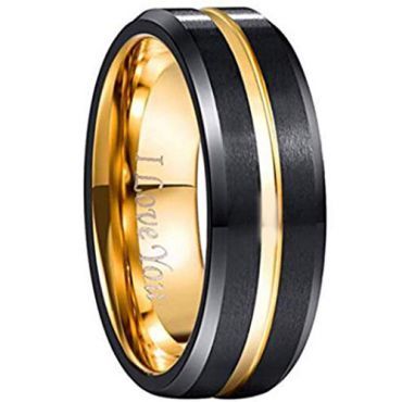 (Wholesale)Tungsten Carbide Blaack Gold Beveled Edges Ring-1561