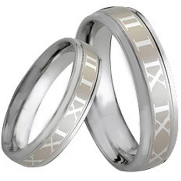 (Wholesale)Tungsten Carbide Ring With Roman Numerals - TG164