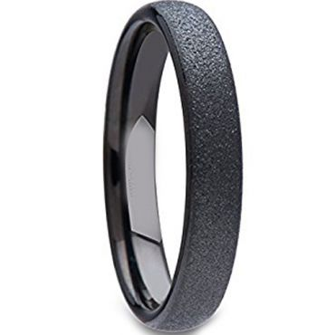 (Wholesale)Black Tungsten Carbide Sandblasted Ring - TG1684A