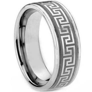 (Wholesale)Tungsten Carbide Greek Key Ring-TG1831