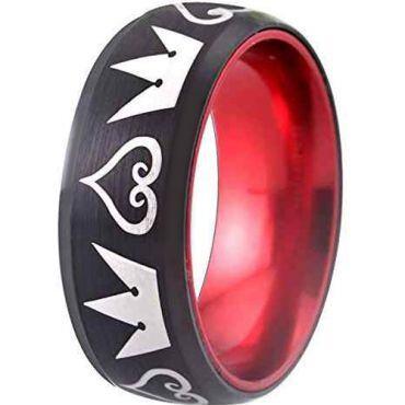 (Wholesale)Tungsten Carbide Black Red Kingdom Heart Ring-1856