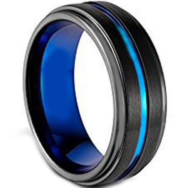 (Wholesale)Tungsten Carbide Black Blue Center Groove Ring-1869AA
