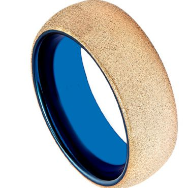(Wholesale)Tungsten Carbide Blue Gold Sandblasted Ring - TG1972A