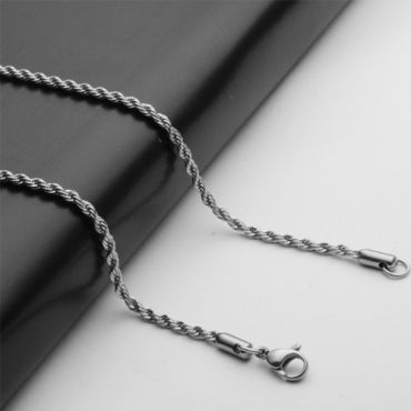 (Wholesale)316 Stainless Steel 2.4mm Chain Necklace - SJ19