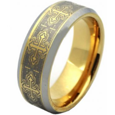 (Wholesale)Tungsten Carbide Beveled Edges Ring - TG3595AA