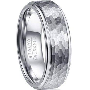(Wholesale)Tungsten Carbide Hammered Ring - TG2093