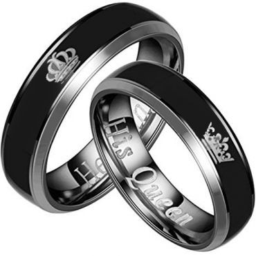 (Wholesale)Tungsten Carbide Beveled Edges King Queen Ring-2094