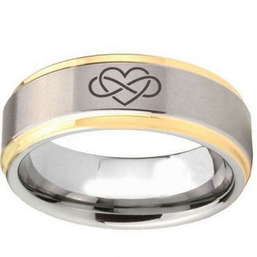 (Wholesale)Tungsten Carbide Infinity Heart Ring - TG2094
