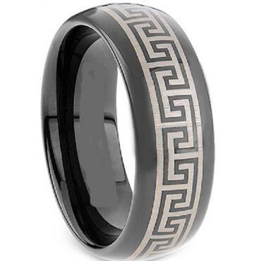 (Wholesale)Black Tungsten Carbide Greek Key Ring-TG2117A