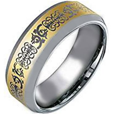 (Wholesale)Tungsten Carbide Celtic Beveled Edges Ring - TG2121