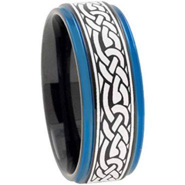 (Wholesale)Tungsten Carbide Black Blue Celtic Ring - TG2211