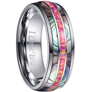 (Wholesale)Tungsten Carbide Shell & Imitate Opal Ring-2242