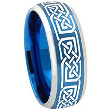 (Wholesale)Tungsten Carbide Celtic Beveled Edges Ring - 2251