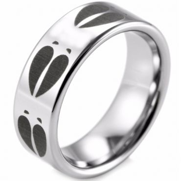 (Wholesale)Tungsten Carbide Deer Track Pipe Cut Ring - TG2395