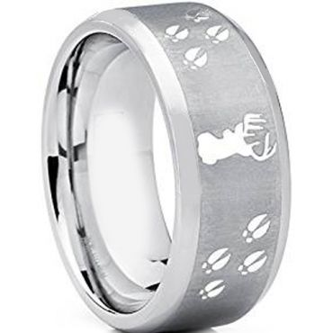 (Wholesale)Tungsten Carbide Deer Track Beveled Edge Ring - TG2445