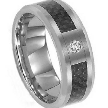 (Wholesale)Tungsten Carbide Ring With Carbon Fiber & CZ-3463